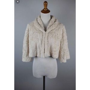 • CAbi Alpine Cream Faux Fur Cropped Shrug •